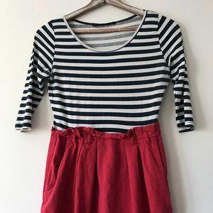 ZARA Red, White & Blue Dress W/ Pockets Size Large